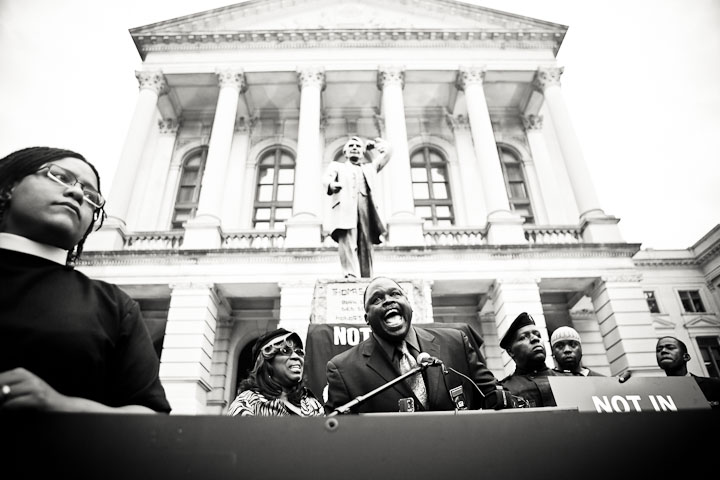 Georgia NAACP President Edward Dubose speaks outside the Capitol.